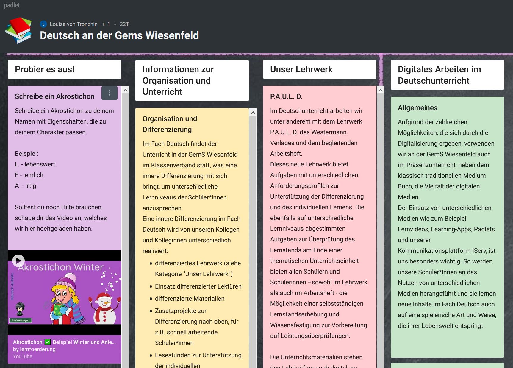 Screenshot des Padlets für das Fach Deutsch